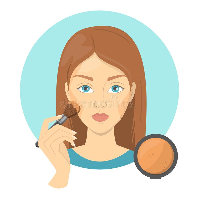 Woman applying face bronzer for perfect makeup. Beautiful girl care about skin and use bursh for cosmetic. Isolated vector illustration in cartoon style vector illustration