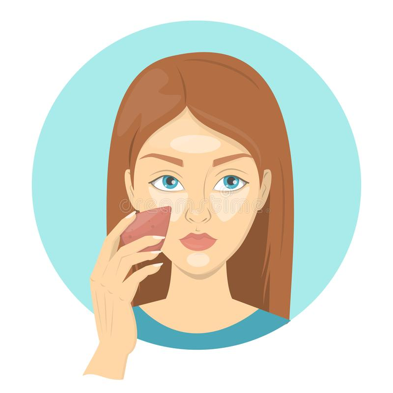 Woman applying face concealer for perfect makeup. Beautiful girl care about skin and use sponge for cosmetic. Isolated vector illustration in cartoon style vector illustration
