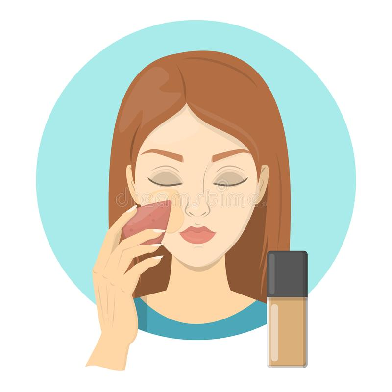 Woman applying face foundation for perfect makeup. Beautiful girl care about skin and use sponge for cosmetic. Preparing skin for contouring. Isolated vector stock illustration