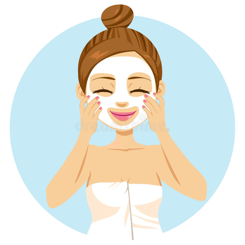 Woman Applying Facial Mask royalty free illustration