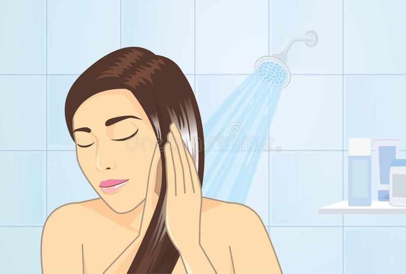 Woman applying hair conditioner stock illustration