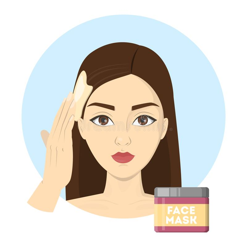 Woman applying hair mask after a washing. Woman applying hair mask after washing. Beauty procedure at home after the shower. Process of hair treatment. Isolated stock illustration
