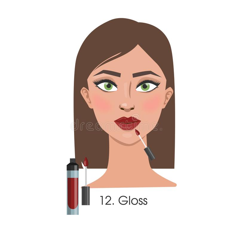 Woman applying lip gloss. Woman applying lip gloss on the lips in white background stock illustration