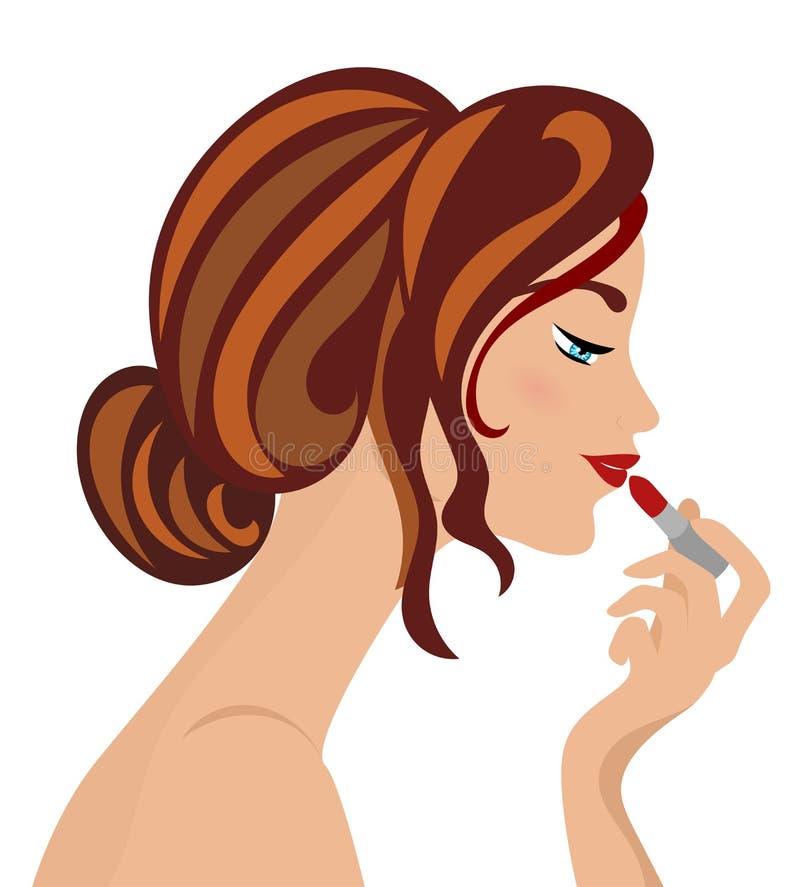 Woman Applying Lipstick stock illustration