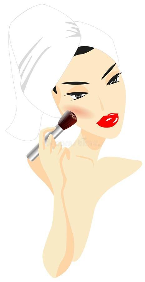 Woman Applying Make-up. Isolated on white background stock illustration