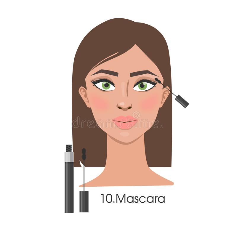 Woman applying mascara. Woman applying mascara with eye brush on white background stock illustration