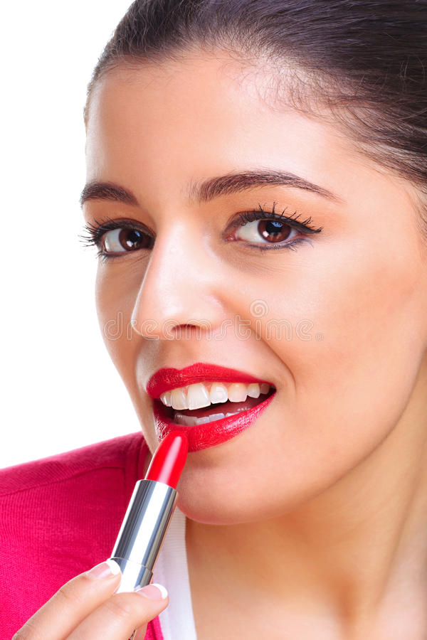 Download Woman Applying Red Lipstick Stock Image - Image of glamourous, eyes: 10187377
