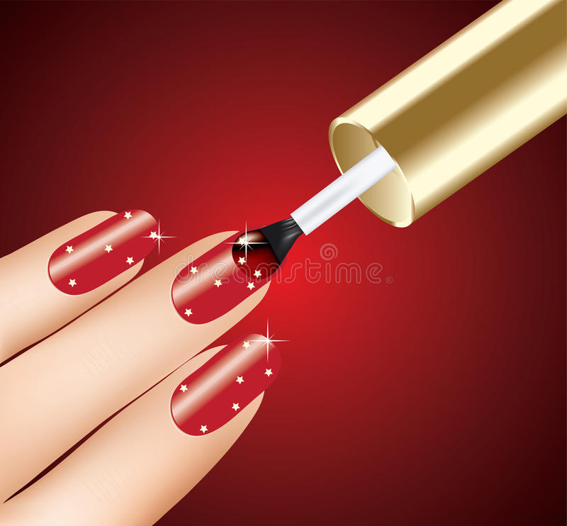 Woman applying red nail polish. On fingers, vector stock illustration