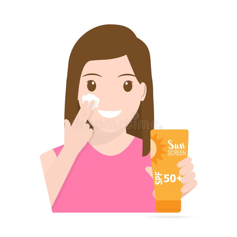Woman applying sunscreen on face. The concept of beauty and health. Protection skin vector illustration