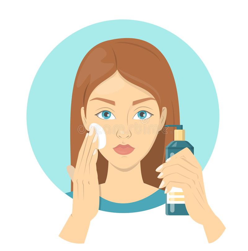 Woman applying a sunscreen for perfect makeup royalty free illustration