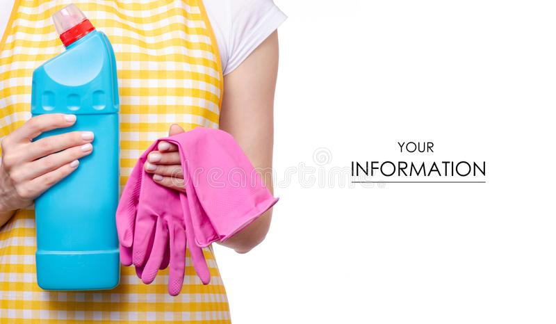 Woman in apron in hands cleaning glove and domestic toilet detergent household chemicals pattern. On white background isolation stock image