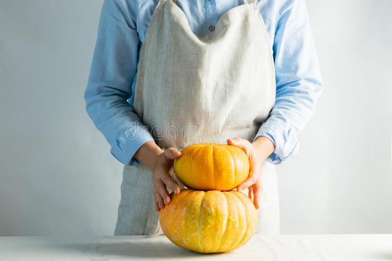 A woman in apron holds organic ripe pumpkins her hands. Rustic natural style. Organic food concept. Hygge kinfolk style. royalty free stock photography