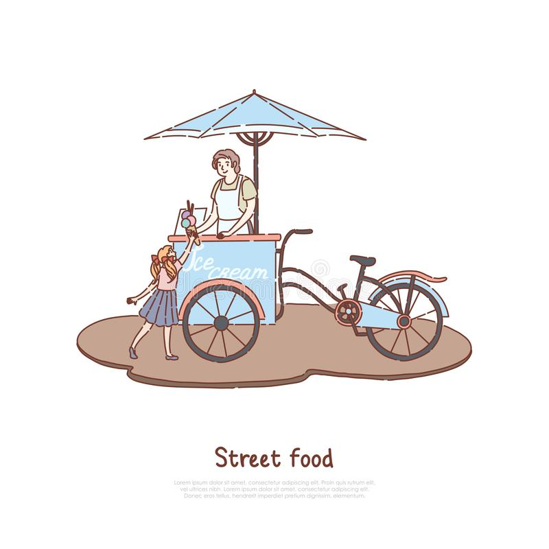 Woman in apron selling sweet dessert, vendor and little child, delicious dairy, summer refreshment, street food banner vector illustration