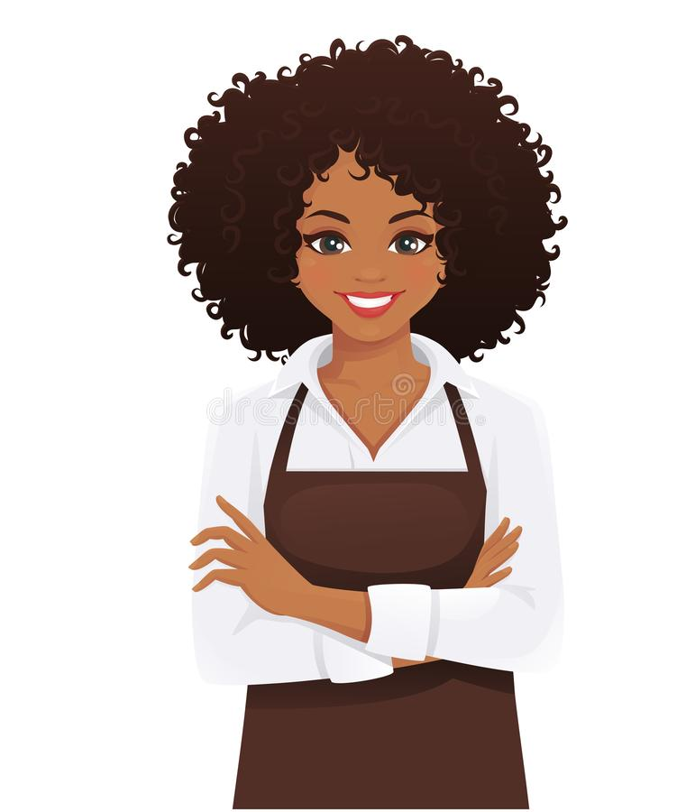 Woman in apron. Smiling woman in apron standing with arms crossed isolated vector illustration stock illustration
