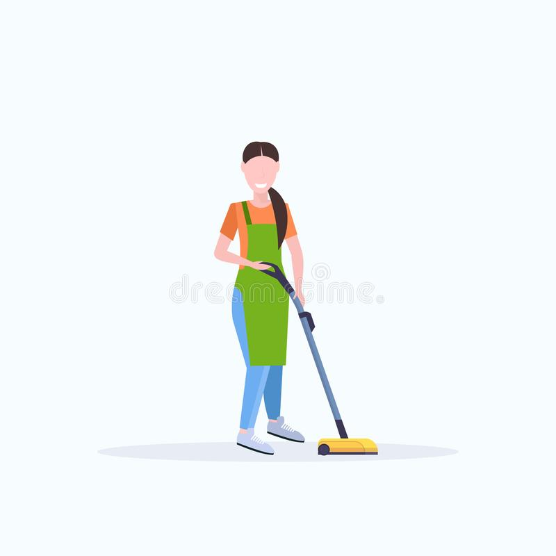 Woman in apron using vacuum cleaner female janitor cleaning service floor care concept flat full length white background vector illustration