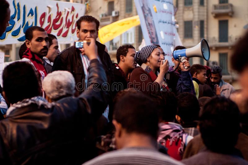Woman in the Arab revolution stock image