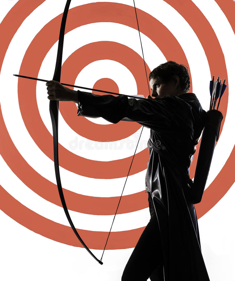 Woman archer. Woman with a bow and arrows.2014-10-08 royalty free stock photography