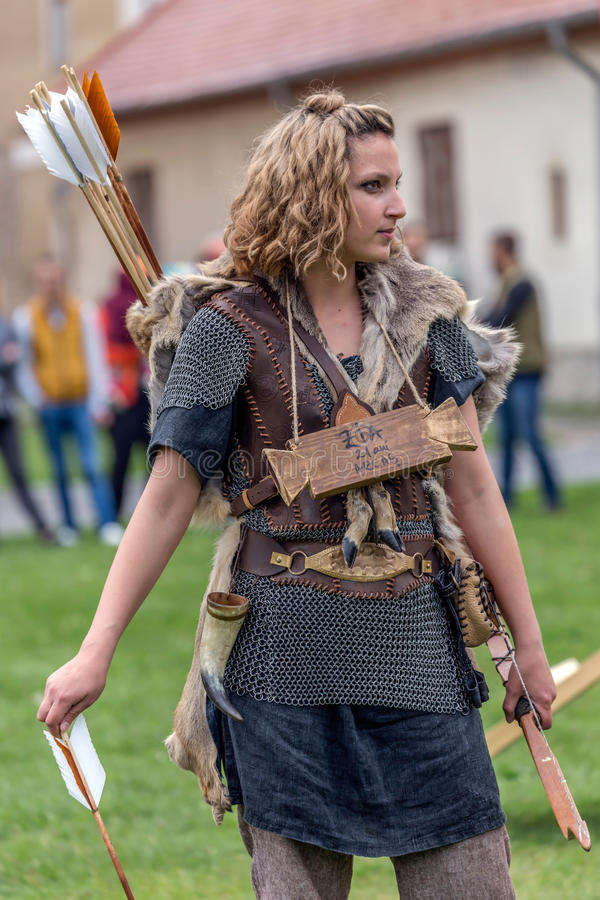 The woman archer, slave dac, in one demonstration royalty free stock photo