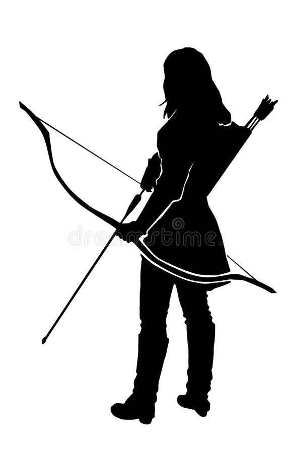 Free Woman Archer Warrior Silhouette Royalty Free Stock Images - 215180059