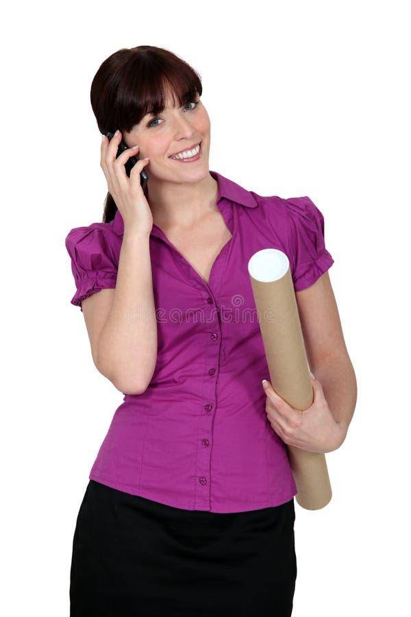 Woman Architect On The Phone Stock Photos