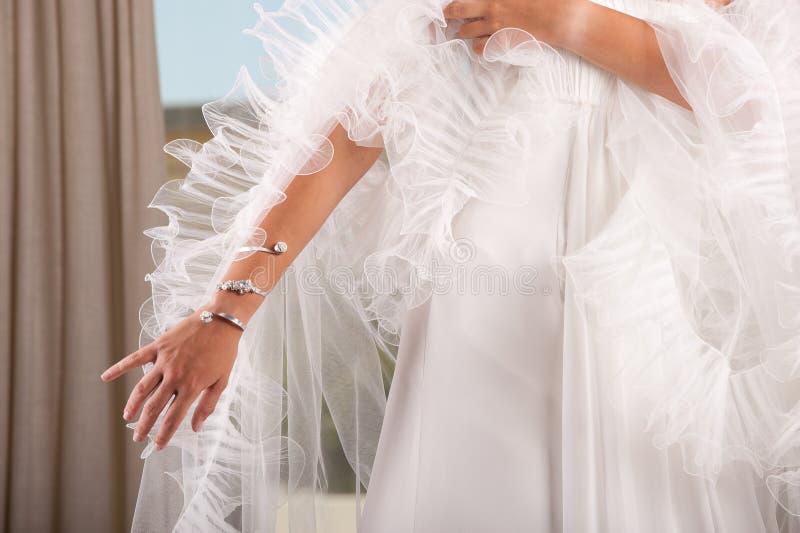 Woman arm with bracelet stock image