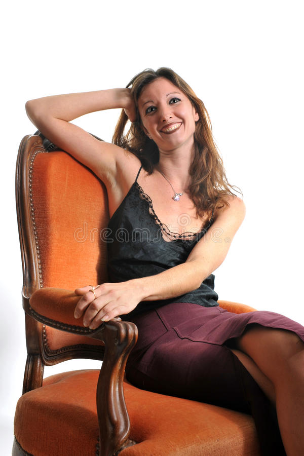 Download Woman on armchair stock photo. Image of white, pretty - 19054230
