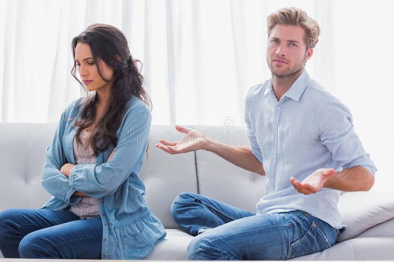Download Woman With Arms Crossed Back To Her Partner Stock Image - Image: 33052175