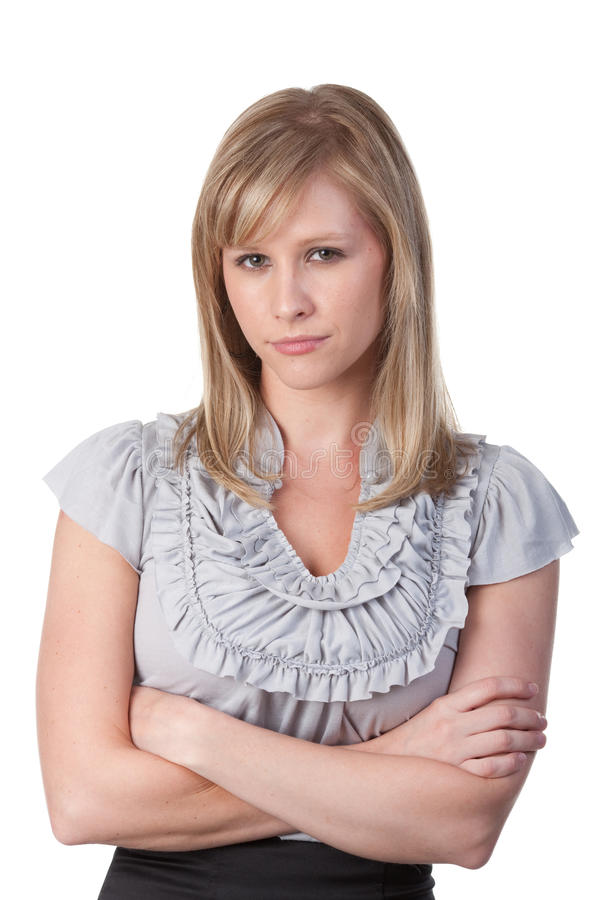Woman with arms folded stock photos