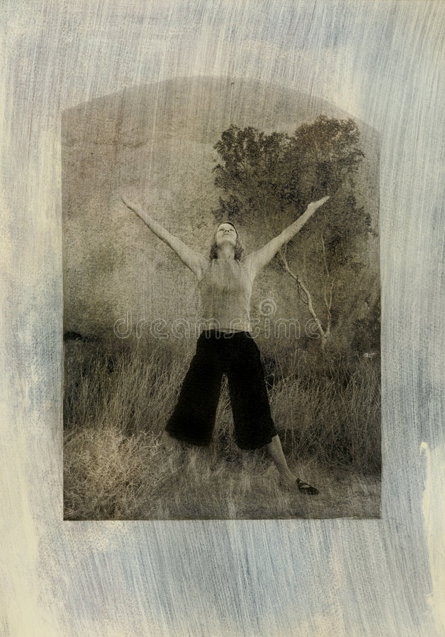 Woman arms outstretched stock images