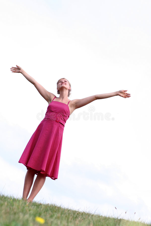 Download Woman with arms raised stock image. Image of blue, leisure - 2927299