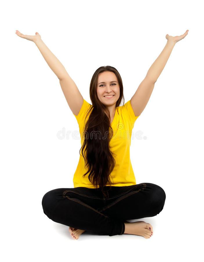 Download Woman with arms raised stock image. Image of raised, successful - 37889599