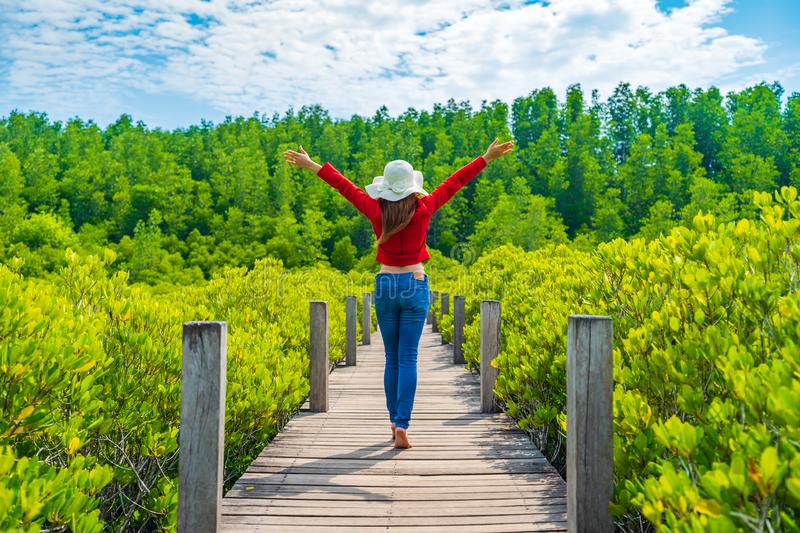 Woman with arms raised in wooden bridge at Tung Prong Thong or Golden Mangrove Field, Rayong, Thailand. Woman with arms raised in wooden bridge at Tung Prong royalty free stock photos