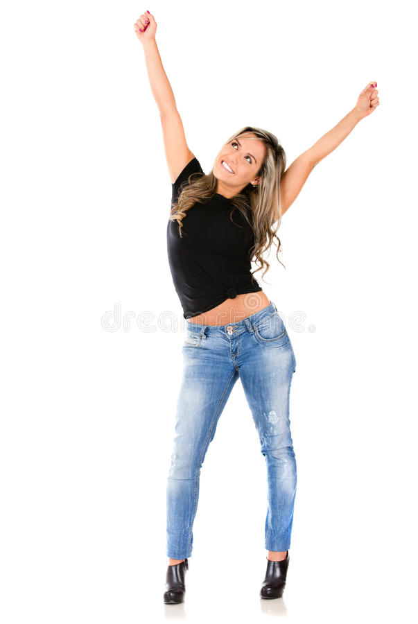Download Woman with arms up stock image. Image of winner, successful - 21669623