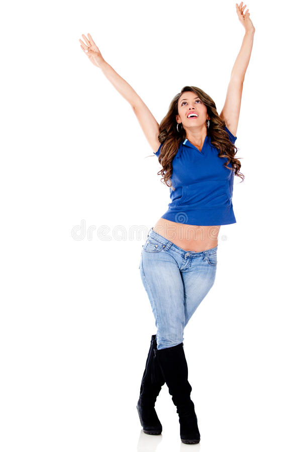 Download Woman with arms up stock photo. Image of latinamerican - 24303112