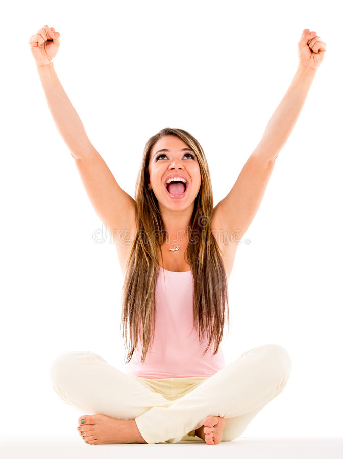 Download Woman with arms up stock photo. Image of triumph, victory - 30376356