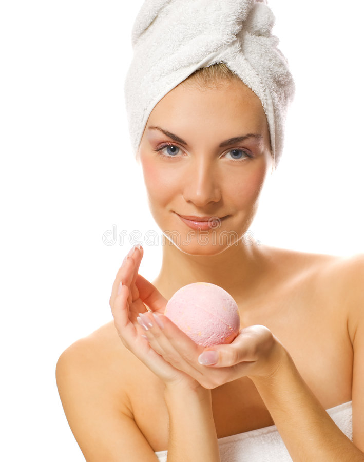 Woman with aroma bath ball royalty free stock images