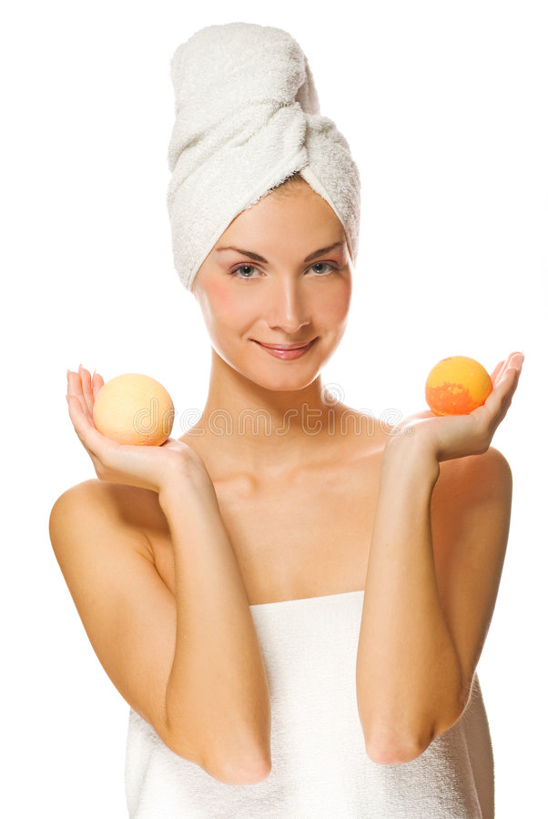 Download Woman with aroma bath ball stock photo. Image of fresh - 4323732