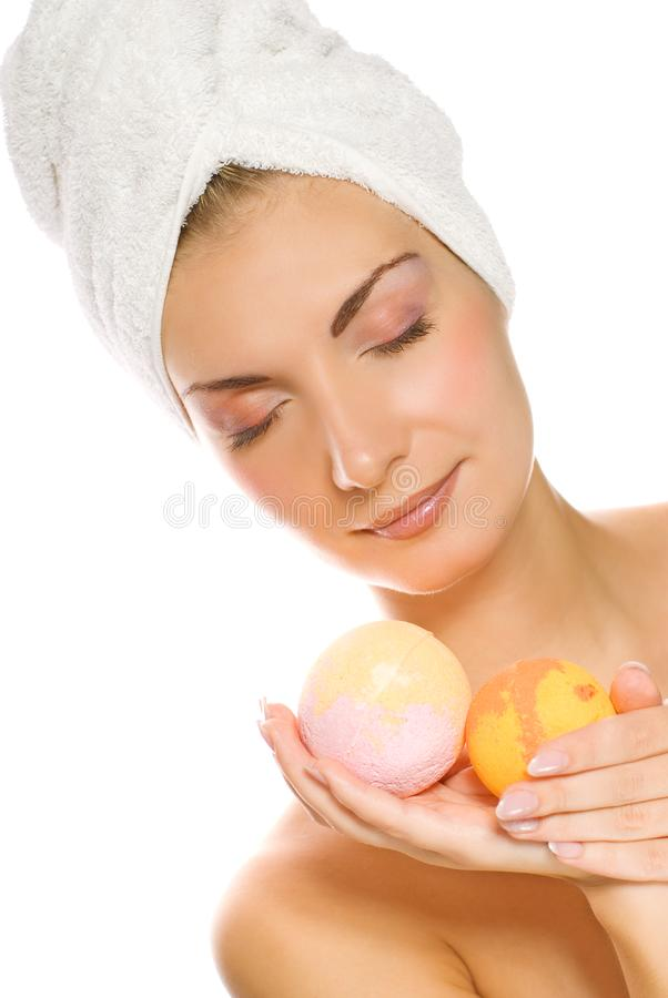 Woman with aroma bath ball stock photo