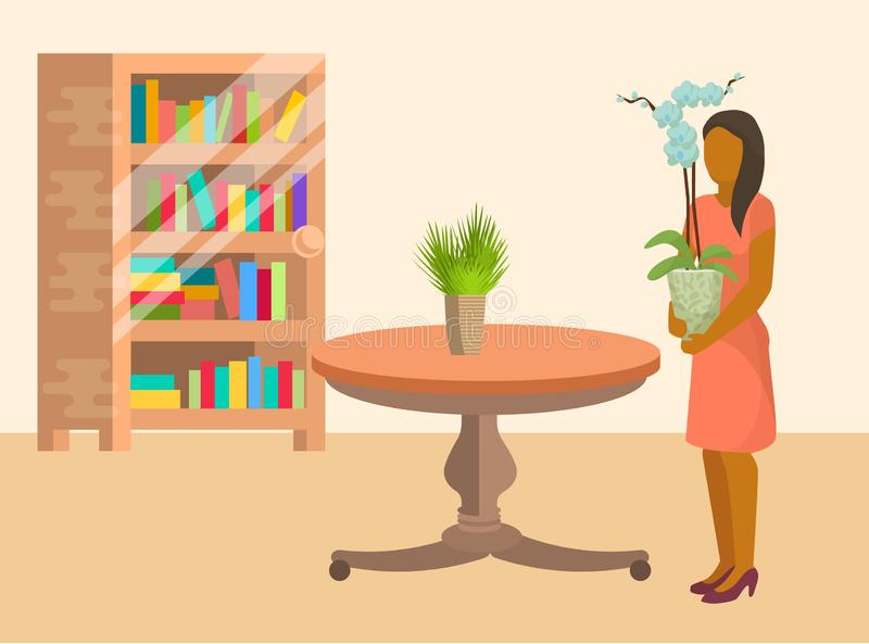 Woman arranging home plants and flowers in room furnished with table and book shelves vector illustration in flat. Cartoon style. Woman spending time at home vector illustration
