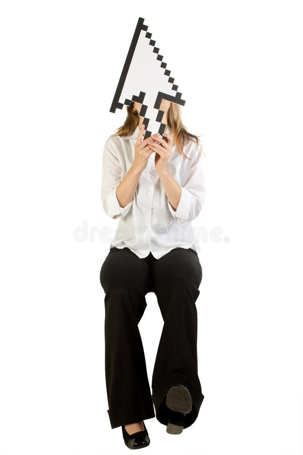 Woman with arrow cursor stock images