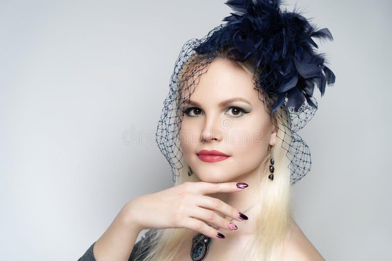 Woman art accessory hat stock photos