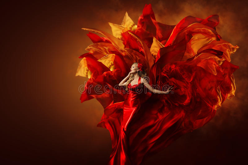 Woman Art Dress, Beautiful Fashion Model in Artistic Red Gown stock photos