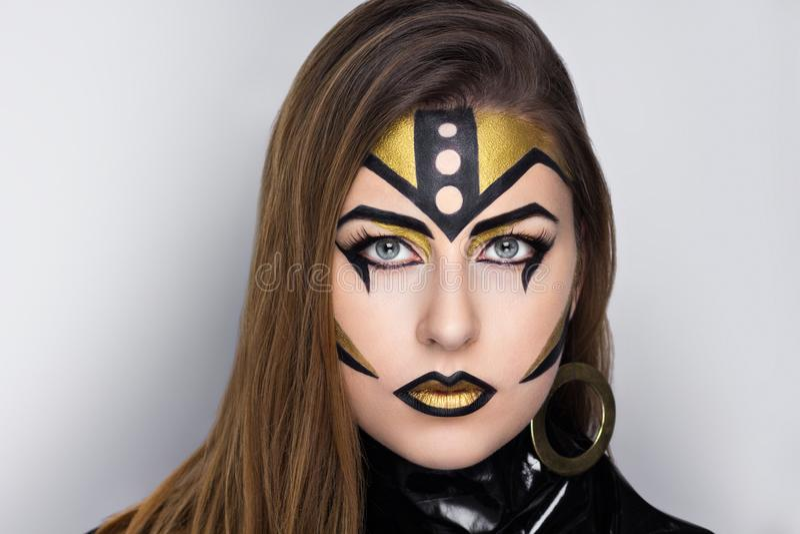 Golden robot woman royalty free stock photos