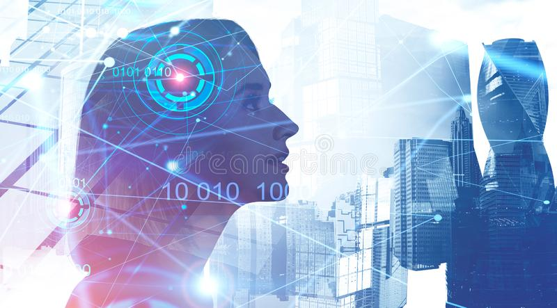 Woman and artificial intelligence concept stock photography