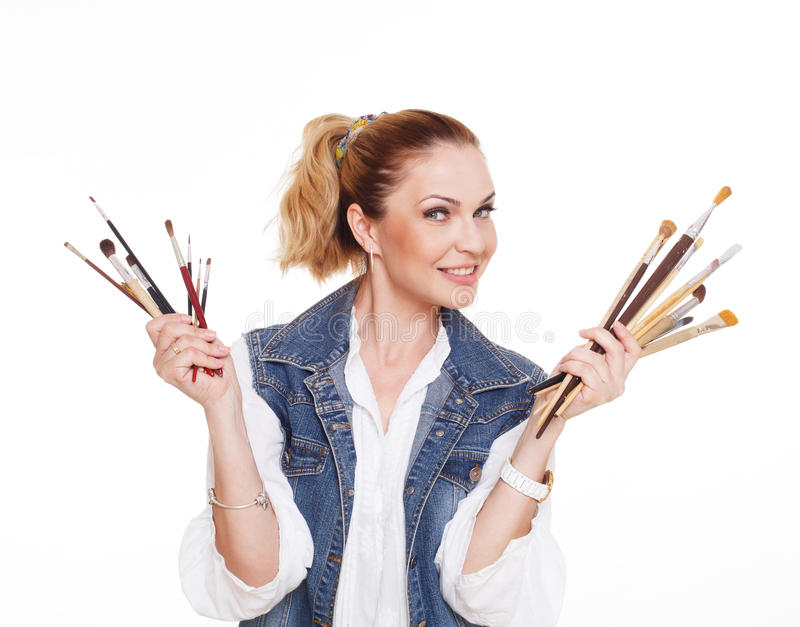 Woman artist with brushes and palette, isolated royalty free stock image