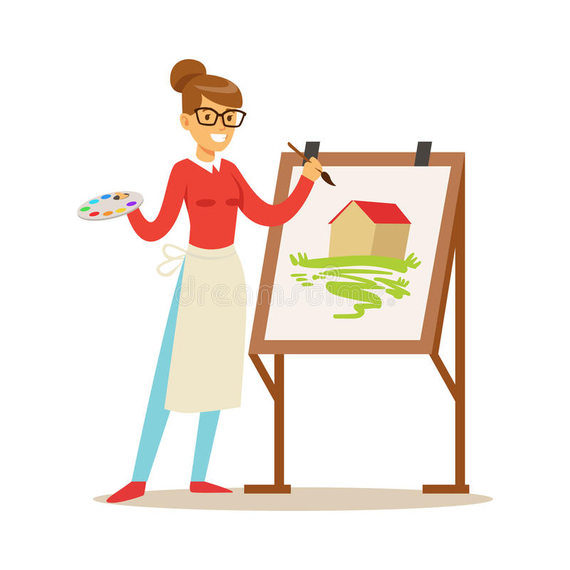 Woman artist holding palette and brush standing near easel. Craft hobby and profession colorful character vector royalty free illustration