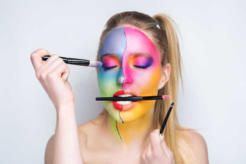 Woman artist make up royalty free stock images