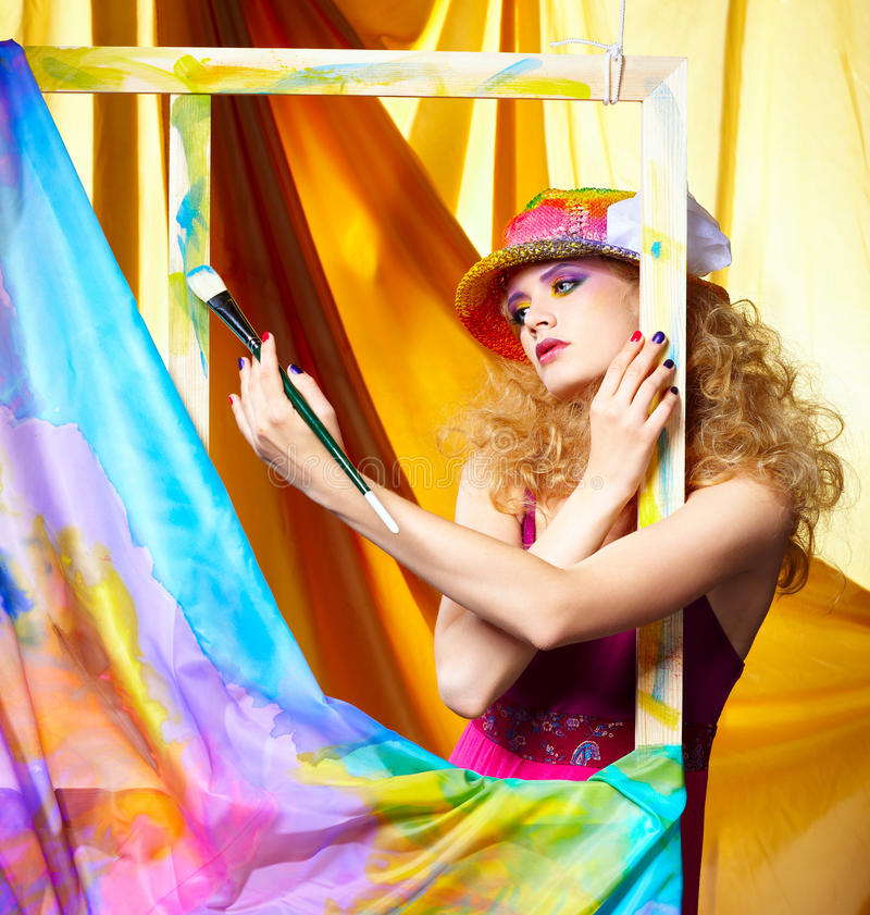 Woman artist painting royalty free stock images
