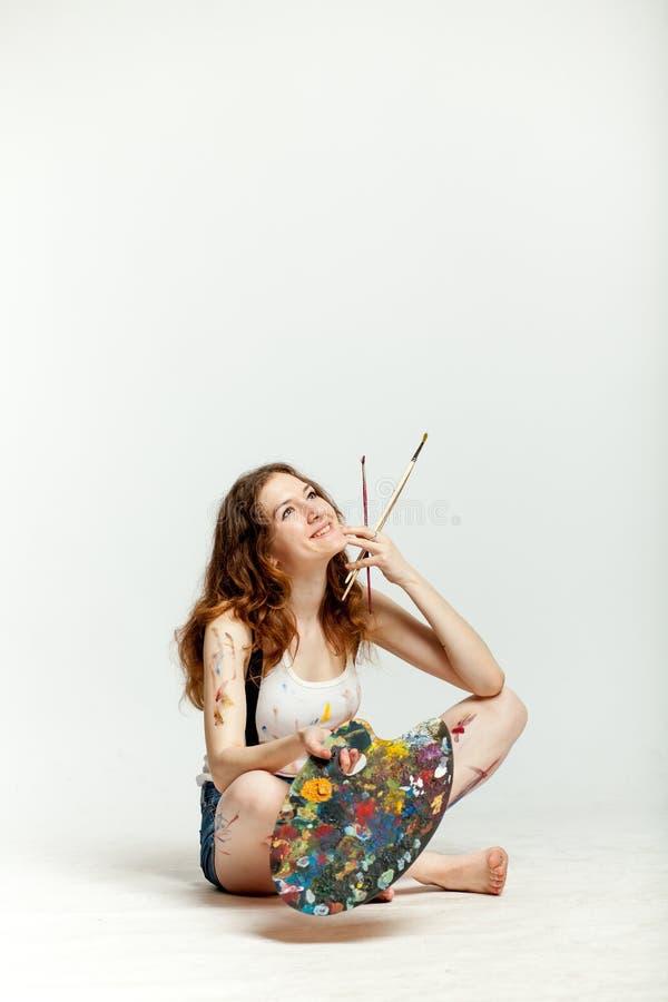 Woman artist royalty free stock photo