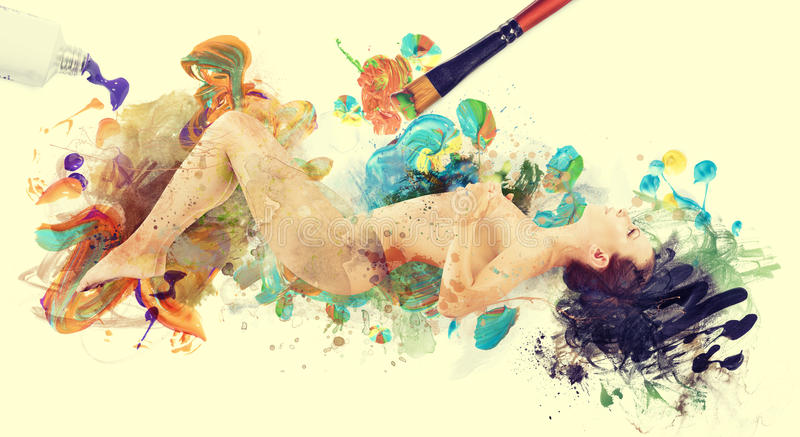 Woman artwork picture. naked woman painted by brush stock image